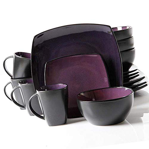 Glaze Dinnerware Set 16-Piece Square Reactive Stoneware Beau
