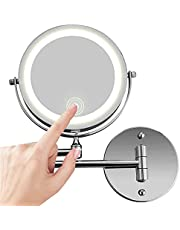 10x Magnifying Wall Mount Makeup Mirror With Led Light, Stainless Steel Bathroom Mirror With Usb Charging And Touch Dimming Function