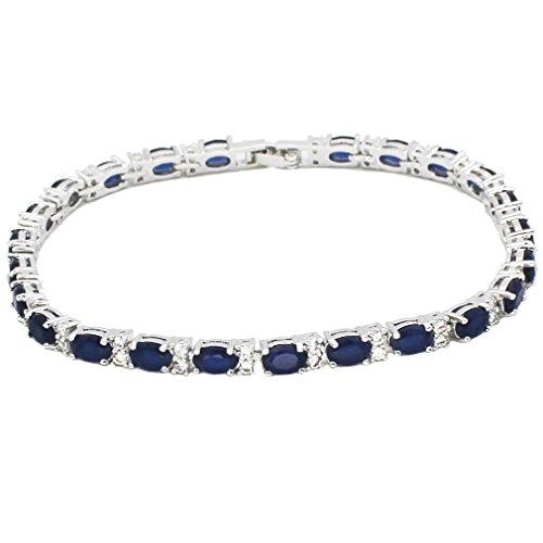 HERMOSA Tennis Bracelet Classic Fashion Jewelry Ruby Emerald Sapphire White Topaz Plated Silver Bracelets 8 inch - Emerald Ruby Bracelet Sapphire