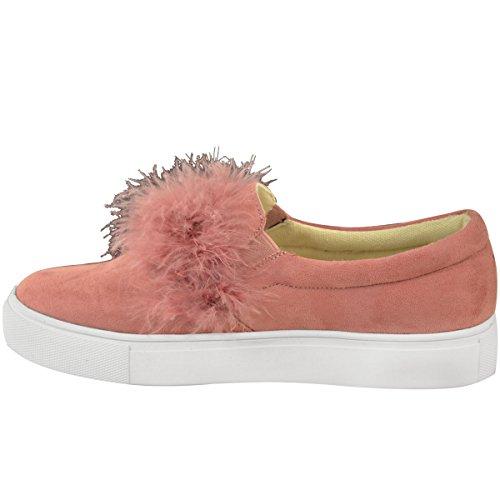 Mode Dorstige Dames Platte Platform Sneakers Faux Marabou Meisjes Slip Op Casual Schoenen Maat Pastelroze Faux Suede