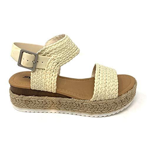 SODA Topic Women's Open Toe Ankle Strap Espadrille Sandal (9 M US, Cream G)