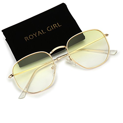 ROYAL GIRL Classic Oval Polygon Women Sunglasses Metal Frame Retro Brand Designer Men Sun Glasses (Yellow Gradient Lens, - Yellow Sunglasses Tinted