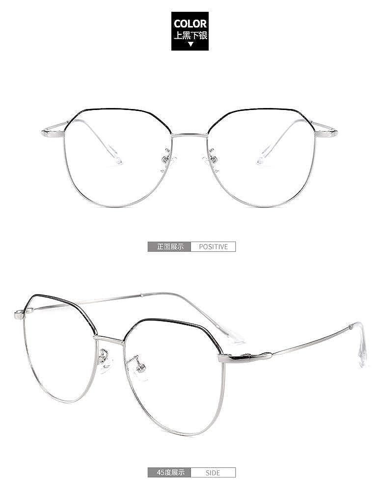 Retro ultra light fine side irregular////flat mirror girl anti-blue glasses on black under silver