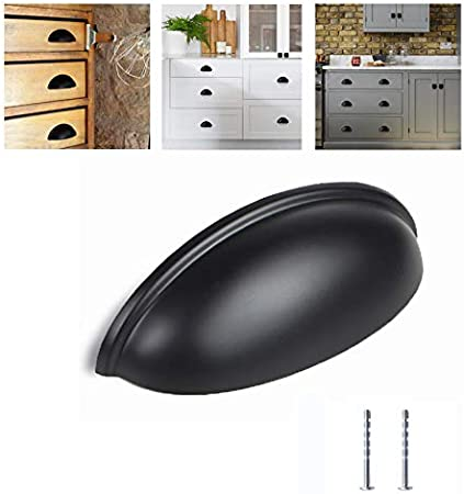 MATTE BLACK BIN PULL HANDLES KITCHEN CABINET HARDWARE DRAWER DOOR KNOB CUP PULLS