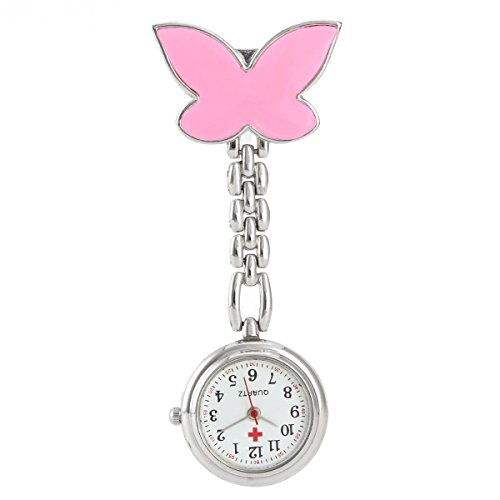 Pocket Watch, GreenDimension Pink Cute Nurse Watch Clip-on Fob Brooch Pendant Hanging Butterfly Battery Pocket Watch Delicate Stainless Steel Quartz Movement Second Hand Clock Medical Timer (Fabulous Design Brooch)