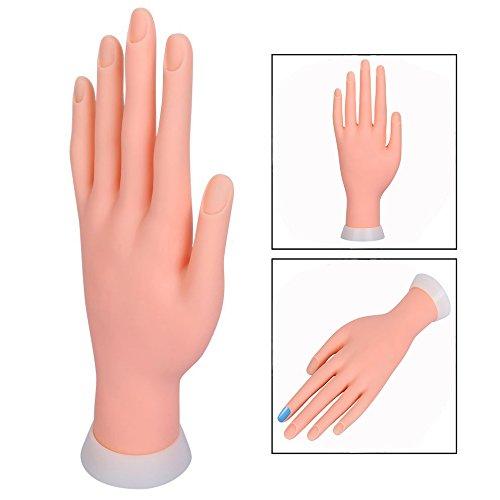 Itian Mano De Caucho Dedos De Práctica Flexible Manicura Pa Arte De Uñas PVC, Mano de Maniquí Modelo del Goma flexible para práctica del arte del clavo Manicura
