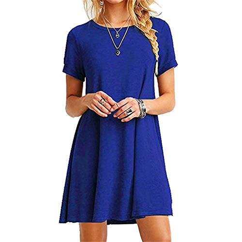 Autumn shallow Fate Women Black Blue Dress Summer Short Sleeve O-Neck Casual Loose Dress Plus Size,Yxg8510 Blue,L