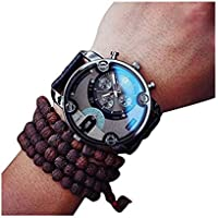Clearance! Charberry Mens Large Dial Quartz Watch Leather Quartz Analog Wrist Watch Watches