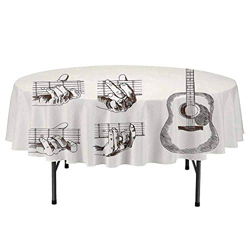 DouglasHill Guitar Printed Round Tablecloth Sketch Art Style Instrument and Chords Acoustic Flamenco Technique Skill Talent Desktop Protection pad D55 Inch Cream Brown