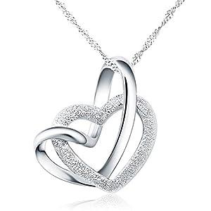 Angel for Angel 925 argent sterling amour coeurs doubles pendentif collier avec 18″ de chaîne bijoux