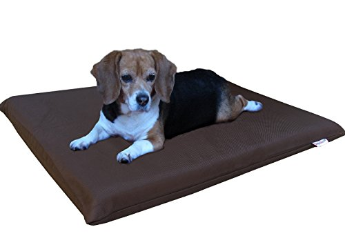 Cheap Dogbed4less Gel Cooling Memory Foam Dog Bed for Small to Medium Pet with Waterproof Internal Cover, 1680 Nylon Seal Brown 34X27X3 Inches