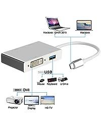 Adaptador USB C a HDMI 4K, Weton USB 3.1 Tipo C a HDMI VGA DVI USB 3.0 Monitores Multi Hub Cable adaptador adaptador (compatible con Thunderbolt 3) Compatible con MacBook   MacBook Pro   Chromebook Pixel
