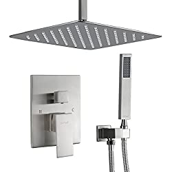 "Esnbia Shower System, Ceiling Brushed Nickel Shower Faucet Set with High Pressure 12"" Rain Shower Head Set All Metal"