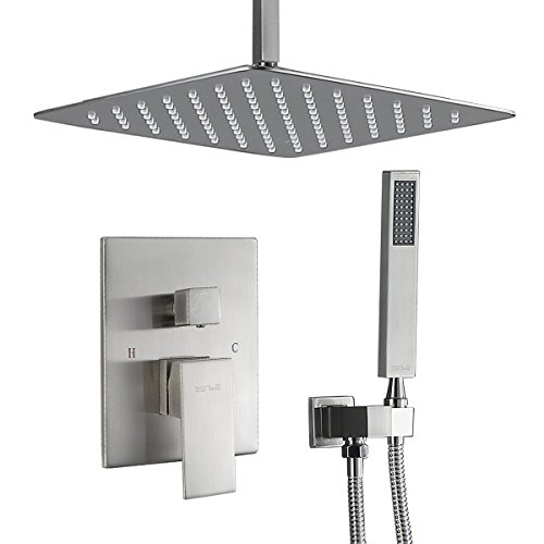 (Esnbia Shower System, Ceiling Brushed Nickel Shower Faucet Set with High Pressure 12
