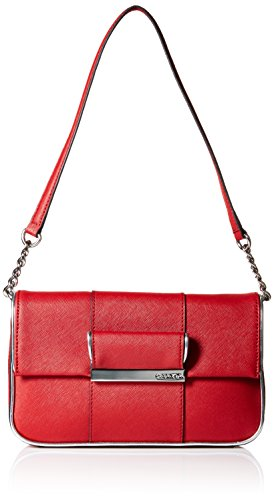 Calvin Klein Metallic Leather Zip - Calvin Klein Saffiano Gifting Demi Shoulder Bag, Rose/Red/Silver Metallic, One Size