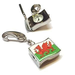 Reloj de bolsillo de Gales de bandera de Gales llavero