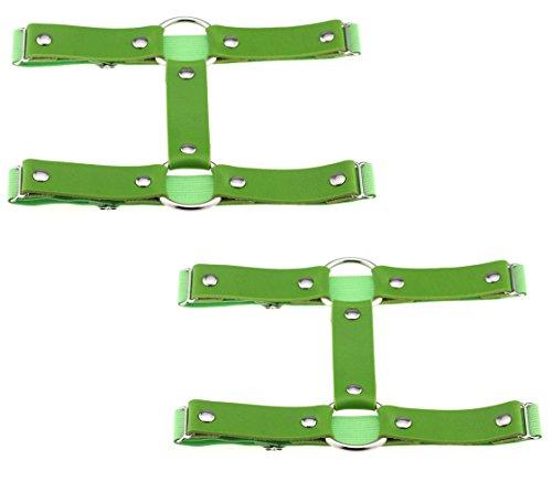 TISDA 2pcs Punk Leather Garter Elastic Stud Leg Garter Belt (Green)