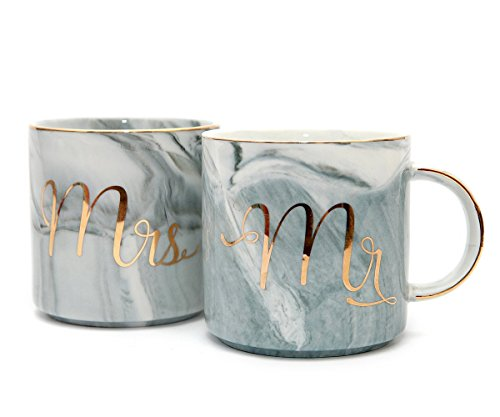 Tergi Mr and Mrs Mugs Set - Engagement and Wedding Gifts For Bride and Groom - Anniversary Coffee Cups for Engaged Married Couples - Gold & Marble Ceramic Mugs 11.5 oz