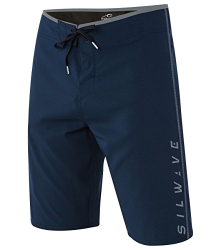 Silwave Men's DuraFit Stretch Solid Board Shorts, Navy Textured, Size 34