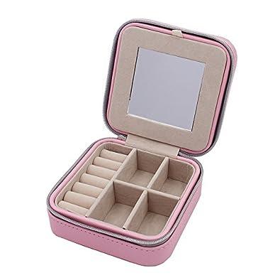 ba92037266b0 Pequeño joyero Portable Travel Jewelry – Caso Organizador Faux piel Memoria  Soporte para pendientes