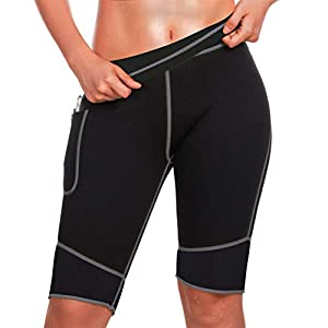 TrainingGirl Inches Slimmer Hot Neoprene Shorts with Pocket for Women Weight Loss Slimming Sauna Sweat Pants Workout…