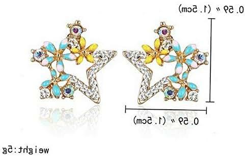 Waldenn Lovely Enamel Horse Crystal Star Ear Stud Earrings Women Fashion Jewelry Party | Model ERRNGS - 12842 |