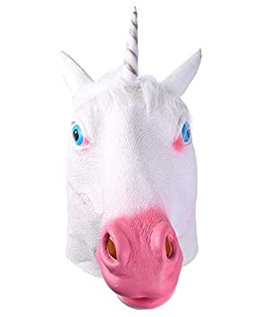 Unicorn Head Latex Rubber Mask Animal Mask