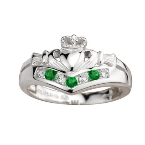 Solvar Claddagh Ring Sterling Silver Emerald & CZ Sz 7.5