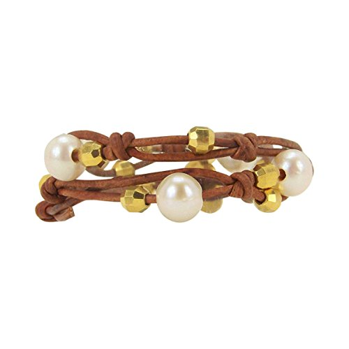 (Chan Luu Double Wrap Bracelet - Choker in White Pearl on Knotted Leather)