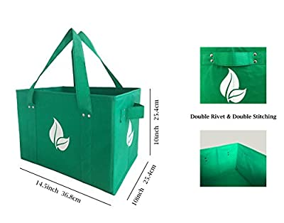 Reusable Grocery Shopping Box Bag Deluxe Set Large Foldable Collapsible Box Tote with Extra Long Handles Reinforced Bottom and Sides in Eco Green Color (Set of 3)