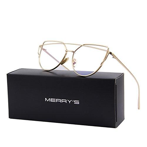 MERRY'S Fashion Women Cat Eye Sunglasses Coating Mirror Lens Sun glasses UV400 S7882 (Gold&Transparent, - Brands Top Sunglasses Best 10