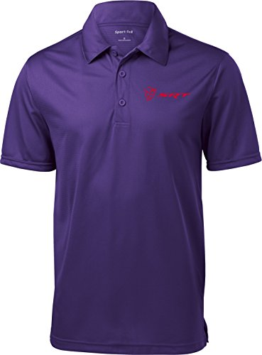 Dodge Demon Srt Logo Pocket Print Textured Polo Shirt  Purple  2Xl