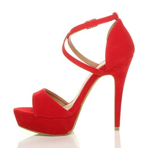Ajvani Heel Sandals Women Red Size Over High Suede Cross 1rwpE1q