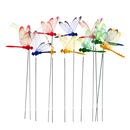 Datingday 12 Pack 3D Garden Dragonfly Stakes with Sticks Dragonfly Planter Miniature Fairy Garden Decoration,Small (Miniature Dragonfly)