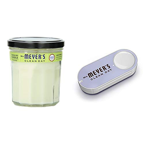 Mrs. Meyer's Clean Day Scented Soy Candle, Large Glass, Lemon Verbena, 7.2 oz + Mrs. Meyers Dash Button by