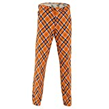 Royal & Awesome Tangerine Tartan Bright Mens Golf Trousers - 30W / 30L