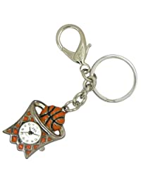 JAS Unisex Novelty Belt Fob/Keychain Watch Basketball Silver Tone