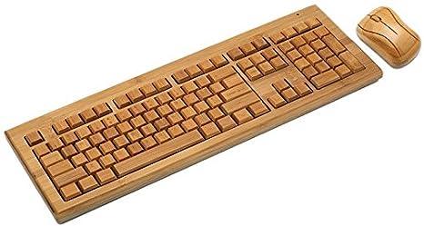 worknet bambú natural Eco-friendly hecho a mano 2,4 gHz teclado inalámbrico y