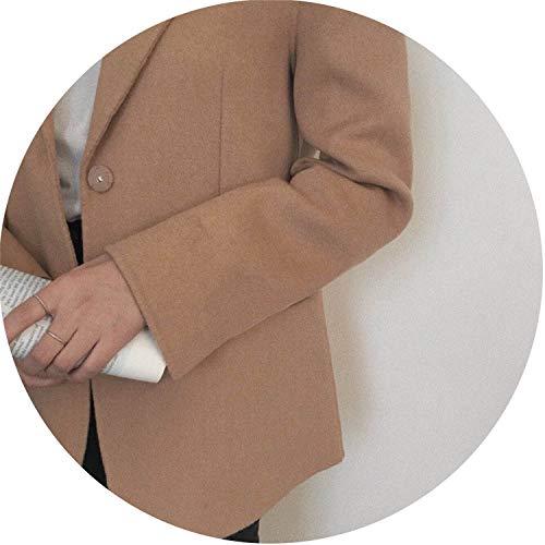 (Elegant Wool Suit Female Autumn Winter Suit Jacket Office Lady Casual Woolen Jacket,Camel,)