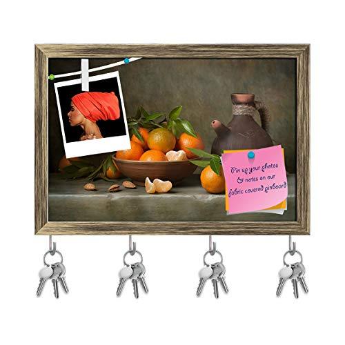 Artzfolio Still Life with Tangerines & Jug Key Holder Hooks | Notice Pin Board | Antique Golden Frame 17.7 X 12Inch