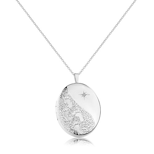 me & you Cubic Zirconia Starburst & Foot Print Engraved Oval Locket Pendant Necklace for -
