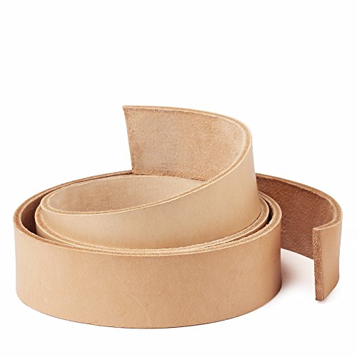 WUTA Leather Natural Cowhide Leather Strap Vegetable Tan Leather Belt Blank Import 9/10 oz (45