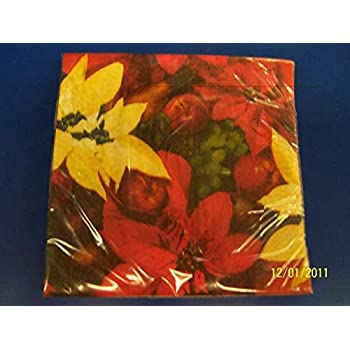 Painterly Poinsettia Flower Christmas Holiday Party Paper Dinner Napkins