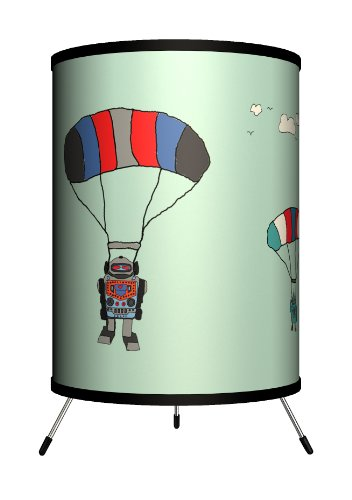 """Lamp-In-A-Box TRI-FAR-CMSKY Featured Artists Carrie Masters""""Skydiver Robots"""" Tripod Lamp, 8"""" x 8"""" x 14"""""""