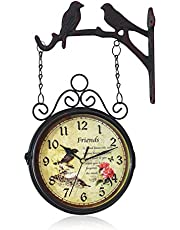 Indoor Outdoor Wall Clock, Retro Double Sided Garden Clock Silent Non-Ticking Wrought Iron Train Station Clock Battery Operated Decor Clock for Garden Patio Station