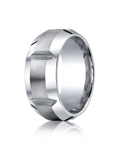 Mens Cobalt Chrome, 10mm Comfort Satin Polished Groove Beveled Edge Ring (sz 10)