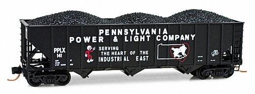 Micro Trains N 10800230 100 Ton 3-Bay Rib-Sided Open Hopper with Coal Load, Pennsylvania Power and Light Ton Coal Hopper