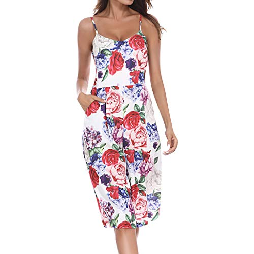 Women Casual Floral Printed Strapless V-Neck Sleeveless for sale  Delivered anywhere in USA