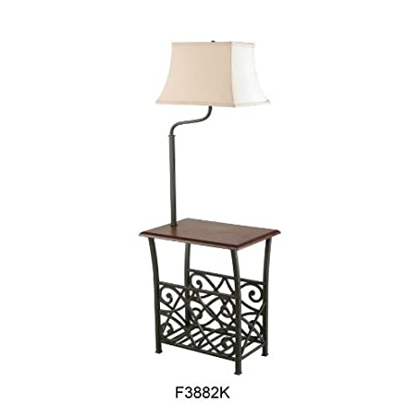 End table with build in floor lamp magazine holder rack oil rubbed end table with build in floor lamp magazine holder rack oil rubbed bronze finish aloadofball Gallery