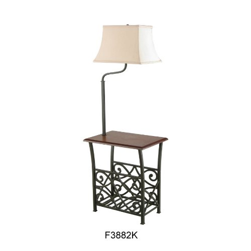 end table with build in attached lamp magazine holder rack oil ru. Black Bedroom Furniture Sets. Home Design Ideas